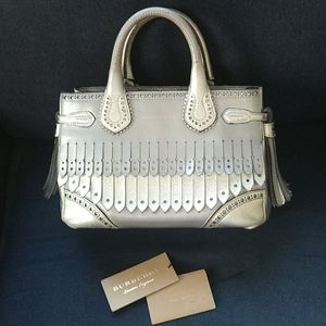 Burberry Silver Leather Broguing Fringe Tote
